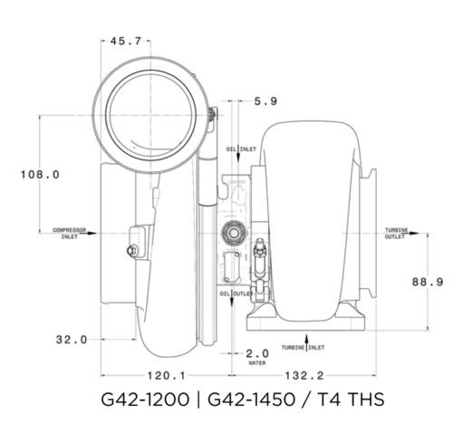 Flange diagram garrett g42-1200