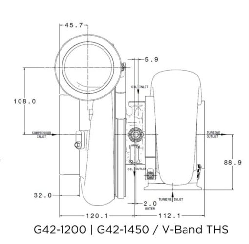 flange diagram turbocharger garrett g42-1450